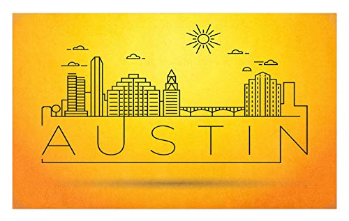 Ambesonne Austin Doormat, Minimal Texas City Linear Skyline with Typographic Design Doodled Sun Icon, Decorative Polyester Floor Mat with Non-Skid Backing, 30 W X 18 L Inches, Yellow and -
