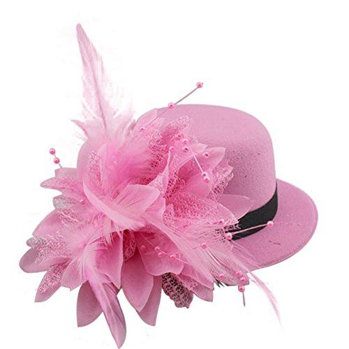 BAOBAO Women Flower Mini Top Hat Fascinator Wedding Party Bridal Hair Clip Hairpin ()
