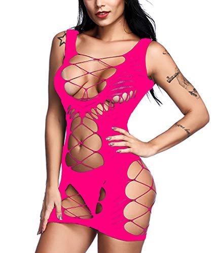 Vorifun Women Fishnet Lingerie See Through Sleepwear One Piece V-Neck Babydoll Mini Dress One Size (Rose Red 4)