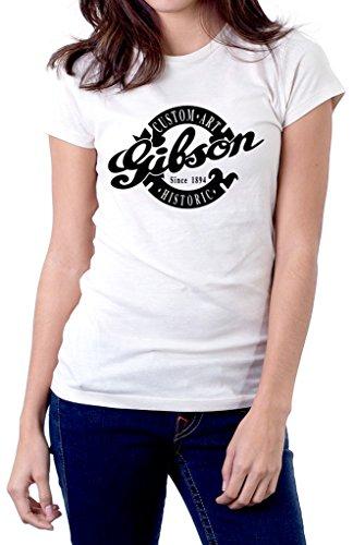 Gibson Guitar Custom Art Historic Logo Women's T-Shirt XX-Large White (Custom Gibson Historic)