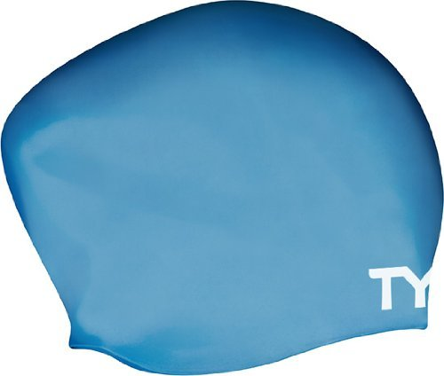 TYR Long Hair Wrinkle-Free Silicone Swim Cap, Blue