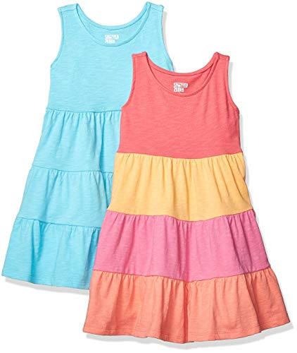 Amazon Brand - Spotted Zebra Girls' Toddler 2-Pack Knit Sleeveless Tiered Dresses, Aqua/Multi Pink, 4T (Tiered Multi Dress)