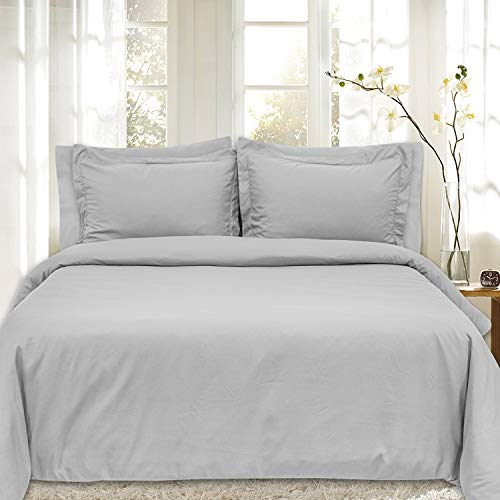 Duvet Cover 5 Piece Includes 2 Shams & 2 Pillowcases 1800 Supreme Soft Hypoallergenic Solid Color Wrinkle and Fade Resistant Set, Silver