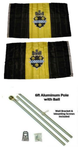 Flag Pittsburgh City (Moon Knives 3x5 City of Pittsburgh Pennsylvania 2ply Flag Aluminum Pole Kit Ball Top - Party Decorations Supplies For Parades - Prime Outside, Garden, Men Cave Decor Flag)