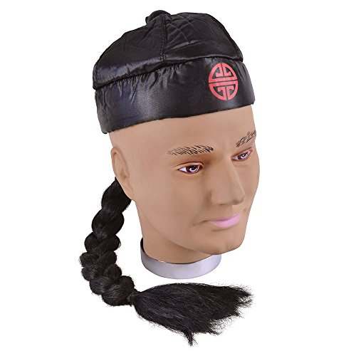 Bristol Novelty BH171 Chinaman Hat with Pigtail, One Size -
