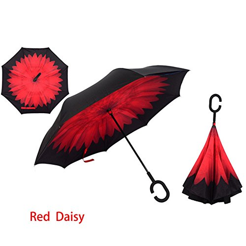 Price comparison product image Camphelper C-Handle Double Layer Windproof UV Protection Reverse Umbrella Sun & Rain Folding Umbrella (Red Daisy)