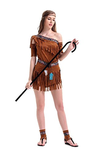 (Uleade Halloween Dresses Cleopatra Primitive Aboriginal Tassel Indian Princess Dress Stage Performance)
