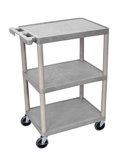 (Luxor Multipurpose Storage Utility Cart 3 Shelves Structural Foam Plastic - Gray)