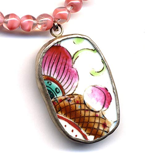 - Necklace with Big Pink and Purple Coy Fish Antique pottery pendant on Vintage Czech Glass beads necklace OOAK