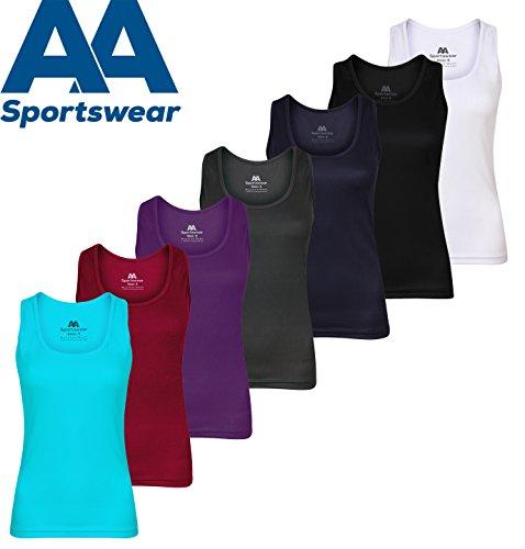 AA SPORTSWEAR - Camisa deportiva - Cuello redondo - para mujer morado
