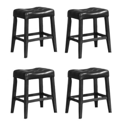 4 24u0026quot; Saddle Back Black Bar Stools