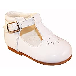 Sevva Baby Infant Girls Spanish Style Patent T-Bar Faux Leather Non Slip First Walking Shoes White, Cream – Ivory, Pink.