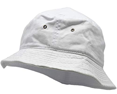 SH-220-09-LXL Vintage Fitted Safari Bucket Hat: Solid White (L/XL) -
