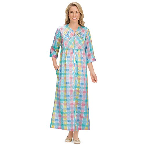 Women's Pastel Plaid Lounger Zipper House Dress with Side Pockets & Embroidered Yoke, Large