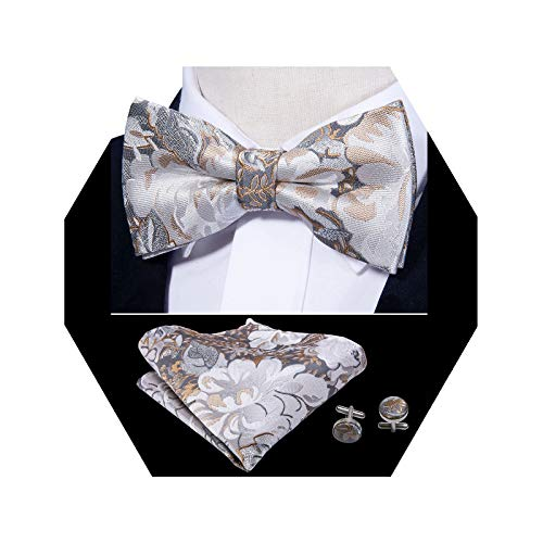 Barry.Wang Mens Silver Bow Tie Pocket Square Cufflinks Set Mens Floral Silk Necktie Set]()