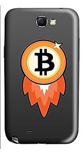 Samsung Note 2 Case Bitcoin Rocket 3D Custom Samsung Note 2 Case Cover