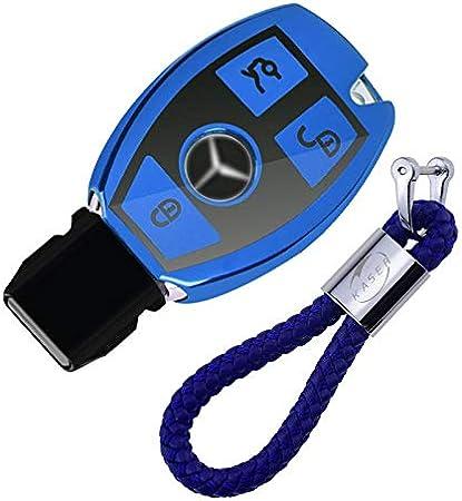 kaser Funda de Silicona para Llave Mercedes – Cover Carcasa de TPU Suave para Keyless Mercedes Classe A B C E CLA CLK GLA GLC Protección Llaveros Mando a Distancia (Azul)