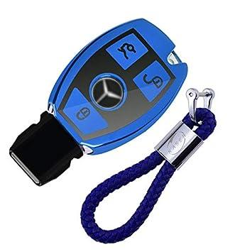 Funda de Silicona para Llave Mercedes – Cover Carcasa de TPU Cromo Suave para Keyless Mercedes Classe ABCE CLA CLK GLA GLC Protección Llaveros Mando a ...