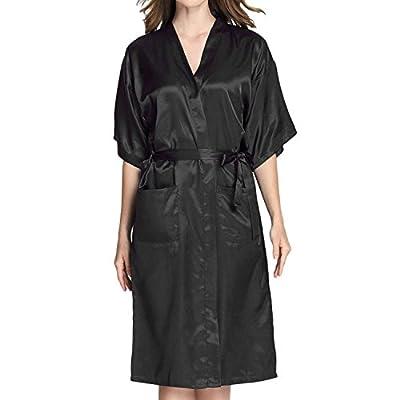 Admireme Women's Long Kimono Robes Bridesmaid Robe Silk Bathrobe Dressing Gown Satin Robe for Wedding Party Birthday