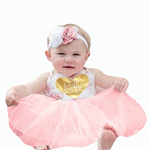 0-4T Toddler Infant Baby Girls Spaghetti Halter Tutu Dresses Cute Floral Letter Print Tulle Patchwork Swing Dress Party Dresses (Pink, 2-3 Years)