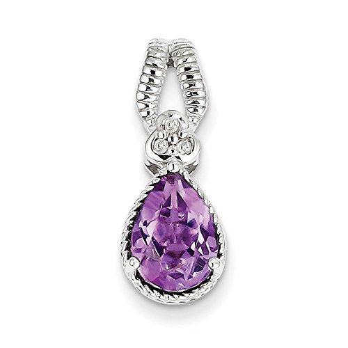 Pendentif diamant et améthyste en argent sterling