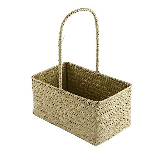 Storage Baskets - 2 Pcs Rectangle Seagrass Woven Flower Basket Tote Storage With Handle 36d - Bins Java Light Mint Round Wire Turtle Toys Weave Drawer Yellow Expresso Makeup Cube Outdoor She ()
