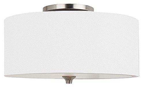 Front Street Lighting Stirling Two-Light Flush Mount Ceiling Light with Satin Etched Glass Diffuser and White Linen Fabric Shade, Brushed Nickel Finish