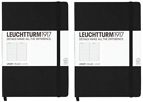 Leuchtturm1917 Medium Size A5 Hardcover Notebook, Ruled Pages, Black - Set of 2