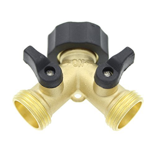 Sumnacon® Heavy-Duty 3/4 Water Hose Shut Off Valve Solid Brass Garden Hose Splitter Easy 2-Way Y Hose Connector for Home, Lawn & Garden, Agricultural & Commercial Use