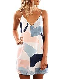 Women V Neck Halter Printed Casual Short Strap Mini Dress