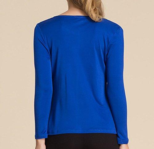 Paradise Para Larga Mujer Silk Real Azul Manga Camiseta De raqAFrw