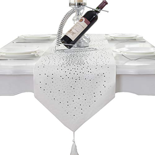Luxury Diamond Bright Star White Damask Silk Tassel Home Decorative Table Runner 72 inch Approx ()