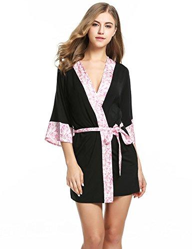 Teamyy Ropa de dormir pijamas de mujer vestido corto de dormir Kimono para mujer Negro+Blanco