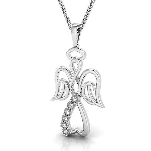 IGI Certified 1/20 Carat Natural Diamond Sterling Silver Angel Pendant for Women with Chain (K-L Color, I2-I3 Clarity) ()