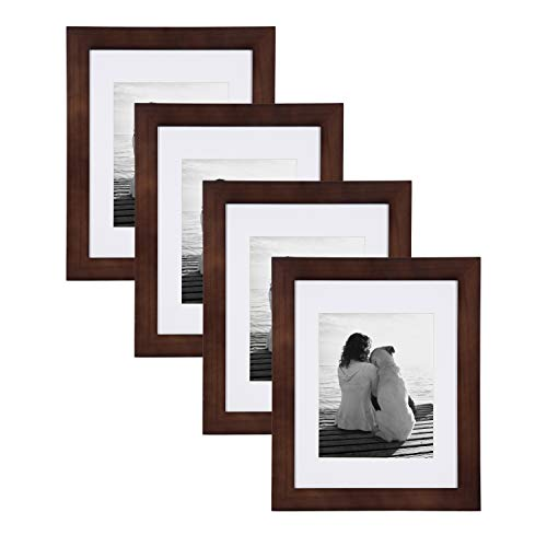DesignOvation Museum Wooden Traditional Picture Frame Set with Mats for Customizable Wall Display, 11x14 matted to 8x10, Walnut Brown, 4 Pack