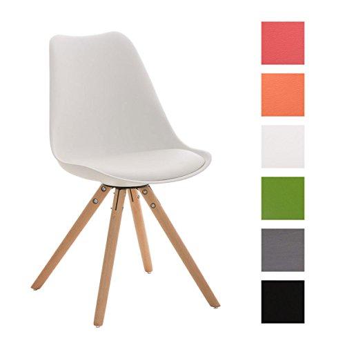 CLP Design Retro Stuhl PEGLEG mit Holzgestell natura, Materialmix aus Kunststoff, Kunstleder und Holz, bis zu 6 Farben wählbar weiß