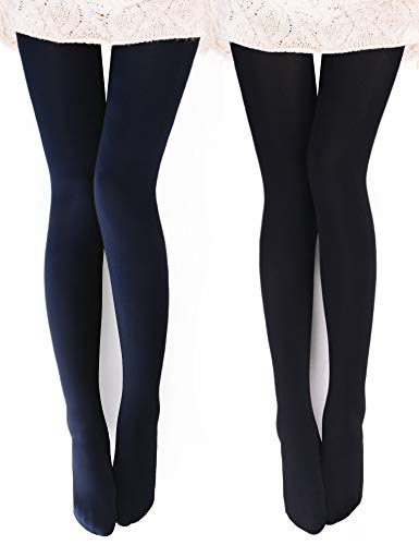 VERO MONTE 2 Pairs Womens Opaque Warm Fleece Lined Tights (BLACK + NAVY) 460425 (Womens Tight)