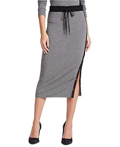 - DKNY Women's Side-Snap Midi Skirt Charcoal Heather Black XL