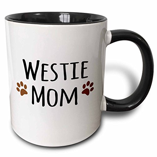 3dRose (mug_154215_4) Westie Dog Mom - West Highland White Terrier - Doggie by breed - doggy lover owner brown paw prints - Two Tone Black Mug, (Terrier Mug)