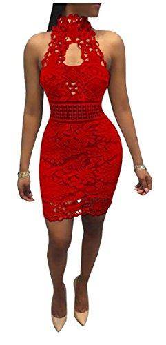 Jaycargogo Dentelle De Broderie Femmes Robes Courtes Robes À Fleurs Rouges Backless