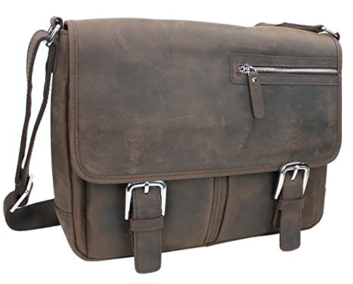 Vagabond Traveler 16'' Cowhide Leather Messenger Bag LM10.CB by Vagabond Traveler