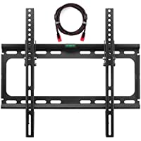 Suptek TV Wall Mount Tilting Bracket for Most 26-55 Inch LED, LCD and Plasma TVs up to VESA 400 x 400mm and 100 LBS Loading Capacity, 9.8 FT HDMI Cable and Free Bubble Level MT4203
