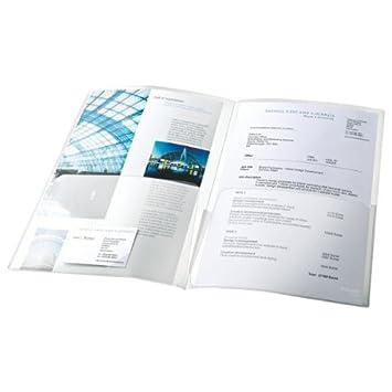 Esselte Busta doppia Copy Safe, Trasparente, Formato A4, Porta documenti, In PP goffrato spessore 180 micron, Confezione da 5 buste, Capacità 50 fogli per lato, 17324