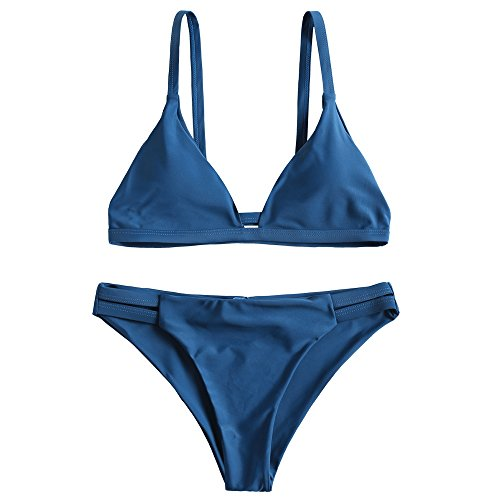 - ZAFUL Women's Sexy Solid Color Spaghetti Straps Cami Ladder Cut Ruched Bathing Suit (Peacock Blue L)