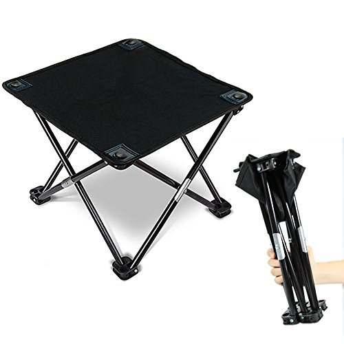 SAIPRO Fishing Stool Folding, Mini Portable Folding Stool, Camping Picnic Table Stool with 4 Legs for Hiking/BBQ / Picnic/Garden / Beach, 3 Seconds Fold up Chair with Carry Bag ()