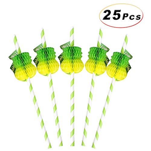 25 Pcs Disposable Degradable Striped Drinking Straws with 3D Honeycomb Pineapple for Birthday Wedding Tropical Hawaii Luau Party Bars Club Cold Drink Cocktail Coconut Juice Supplies (Lime (Lime Coconut Cocktail)