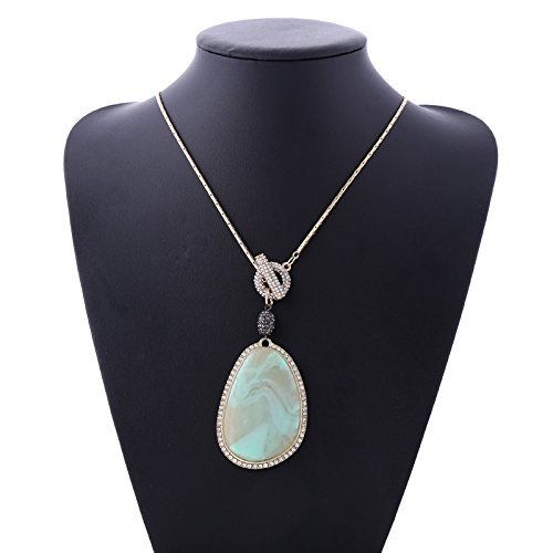 ble 14K Gold Plated Long Box Chain Rhinestone Charm Resin Drop Pendant Necklace (light green) (Light Green Necklace)