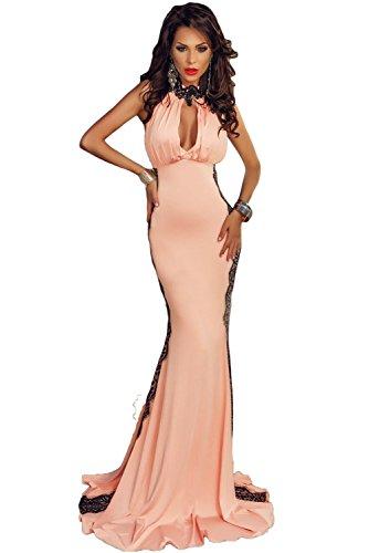 Élégant pour femme Rose et Noir Dentelle ras du cou Tour de cou pour robe de soirée de soirée Party Dance Club Wear Taille M UK 10–12–EU 38–40