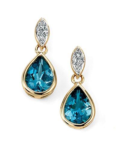 Jewellery World Bague en or jaune 9carats Diamant et Topaze Bleu Londres-Boucles d'Oreilles Pendantes Femme -
