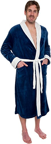 311d4ed4be Ross Michaels Mens Two Tone Plush Shawl Collar Kimono Bathrobe Robe From Ross  Michaels